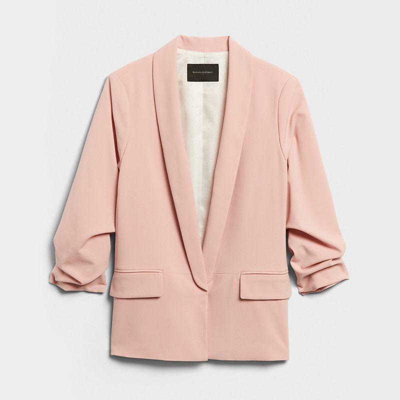 Ruched-Sleeve Blazer