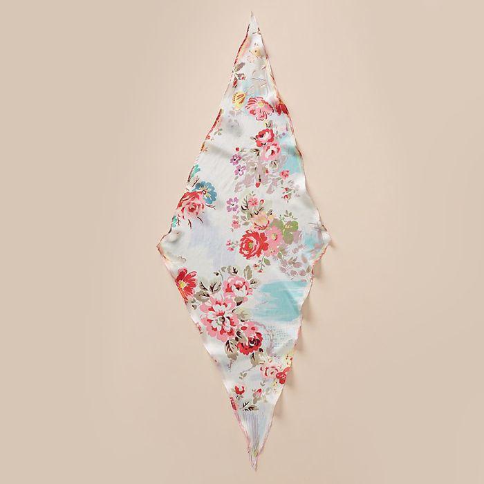 Rosette Silk Kerchief Scarf