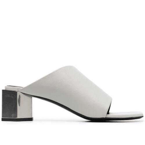 Off-White Asymmetric Block-Heel Mules