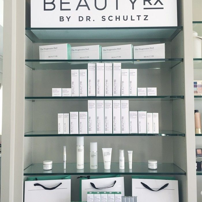 Shelf of products at Beauty RX by Dr. Schultz