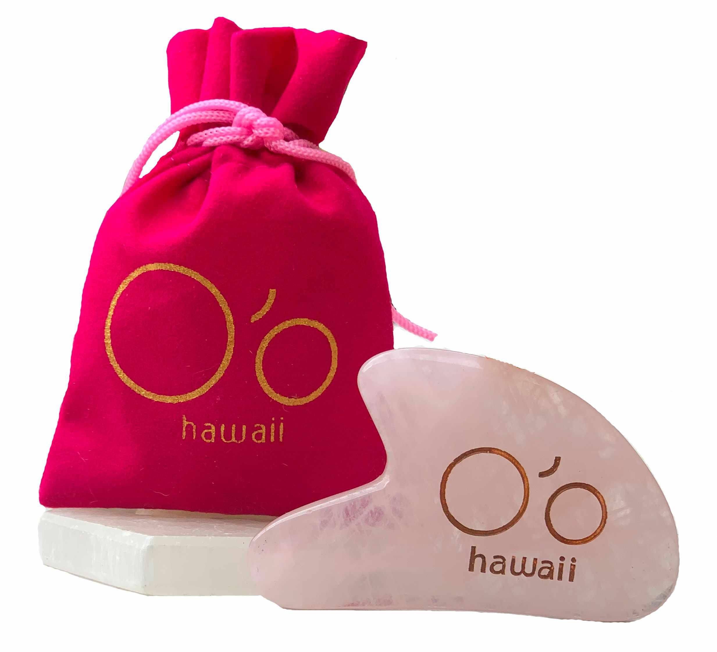 O'o Hawaii Rose Quartz Gua Sha Beauty Tool
