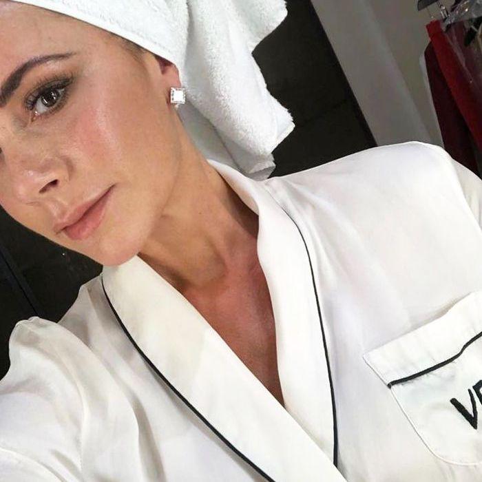 Selfie of Victoria Beckham wearing monogram pajamas