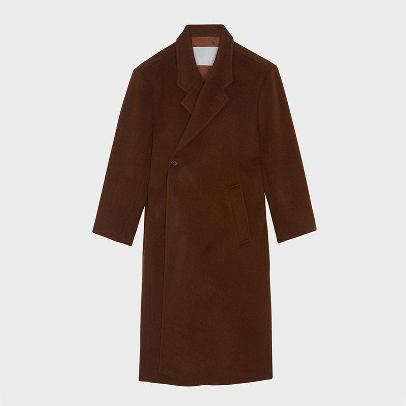 Oversized Padded Shoulder Wool Coat