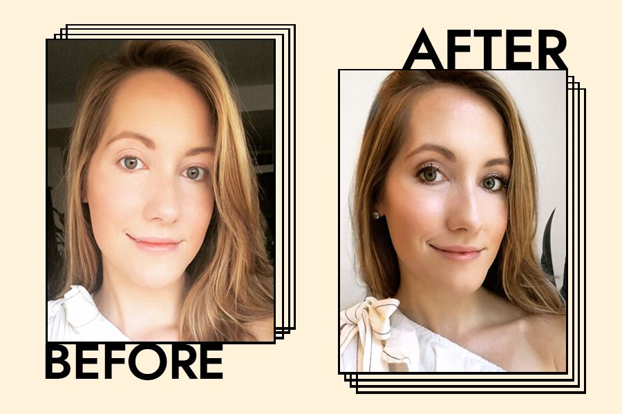 Senior Editor Lindsey Metrus Before and After using the mascara