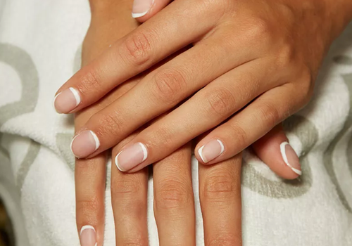 Modern French manicure at Kith NYFW SS19 Show.