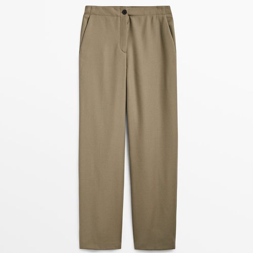 Massimo Dutti Straight-Cut Flannel Wool Trousers