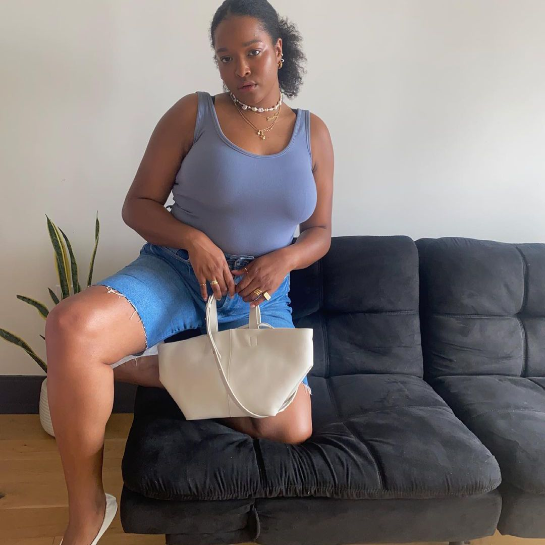 Denim Bermuda Shorts Outfit with Bodysuit and Flats