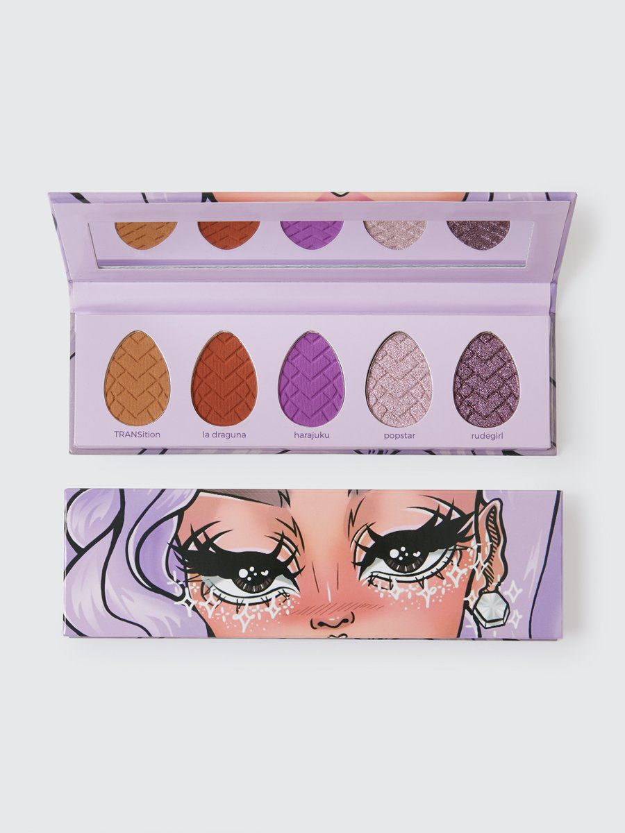 light purple palette with 5 shades and mirror