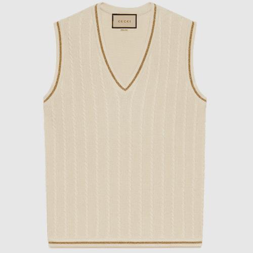 Gucci Gold Lamé Trimmed Vest