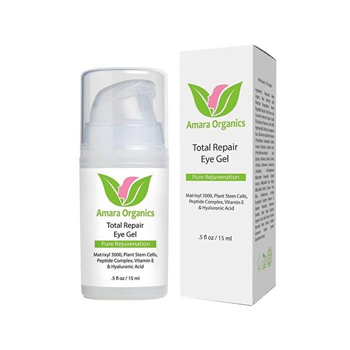 Amara Organics Eye Cream Gel for Dark Circles and Puffiness with Peptides