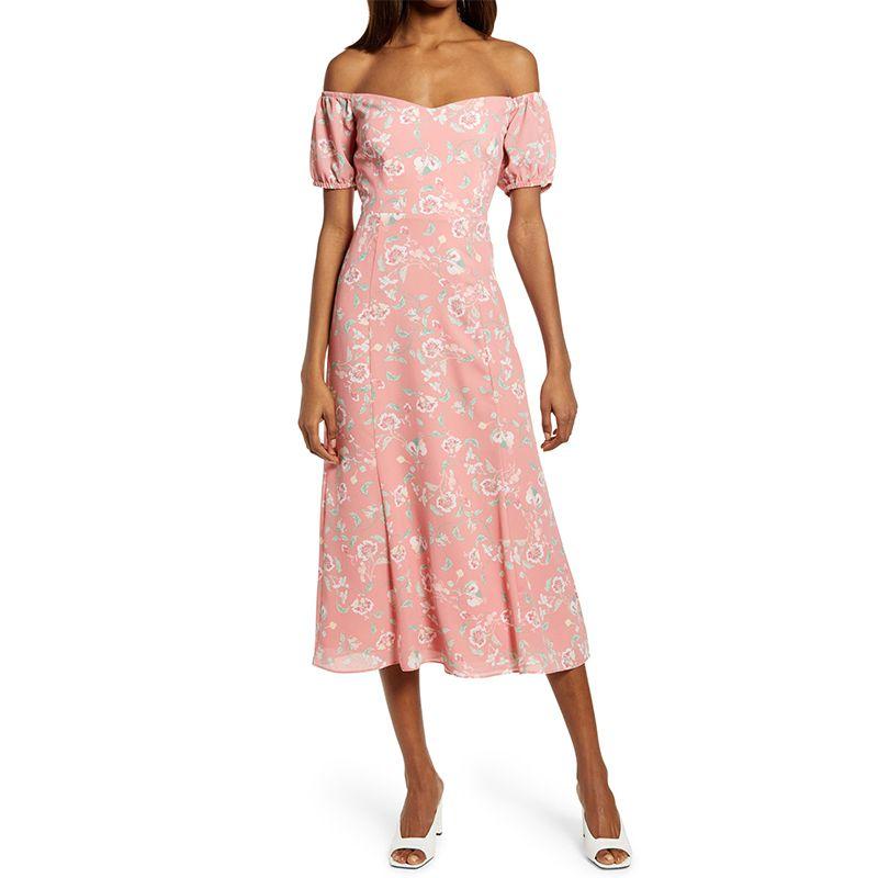 WAYF The Ensley Off the Shoulder Midi Dress