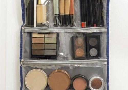 Makeup hanging from an organizer