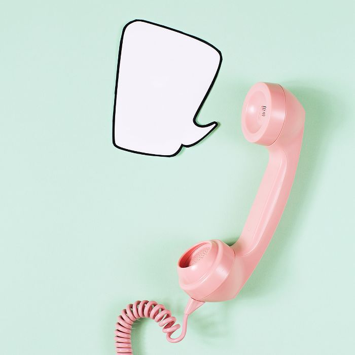 negative body image words: picture of a pink telephone