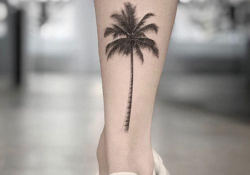 Tree tattoo on a calf