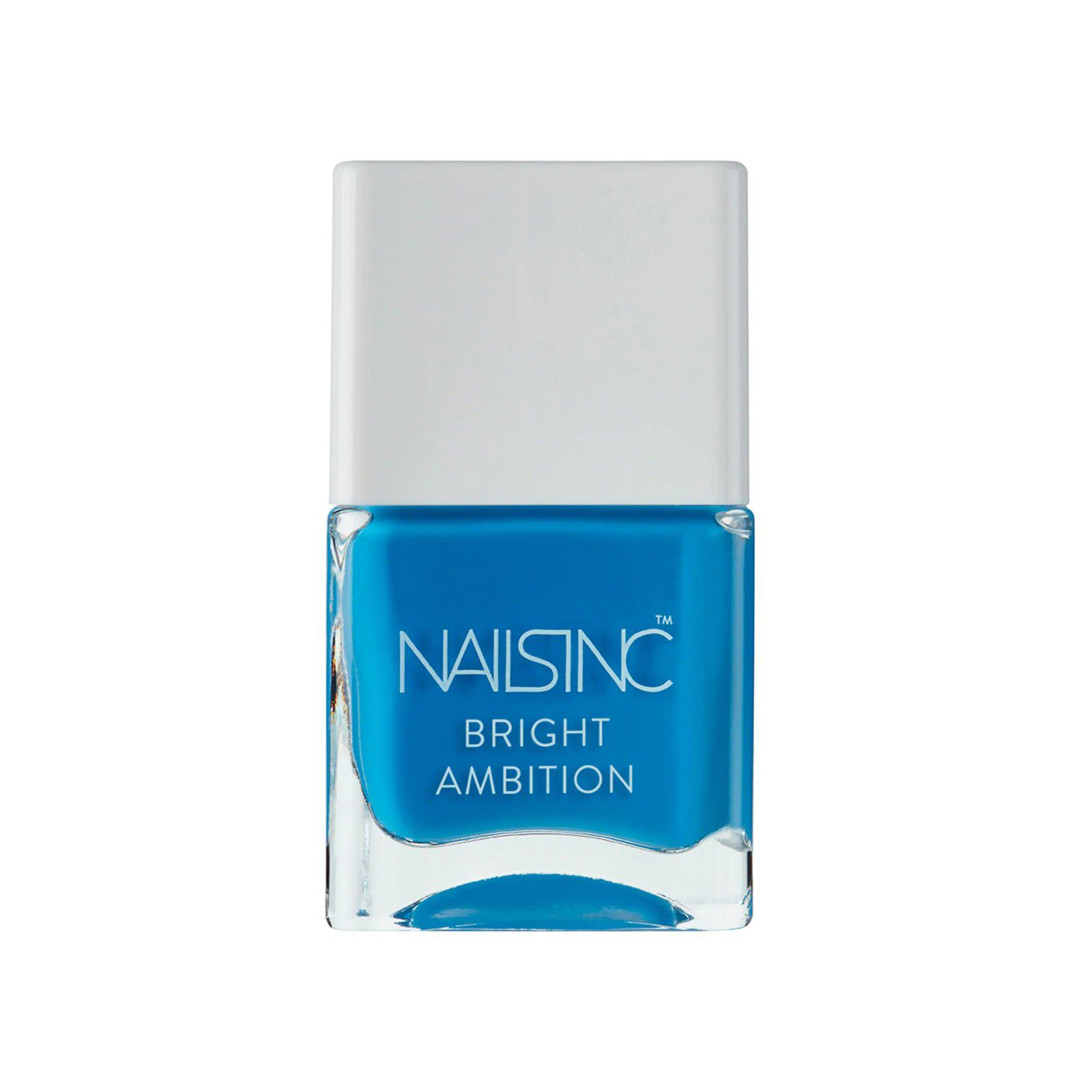 Bottle of bright blue nail polish with a white lid.