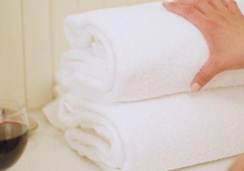 Towel and wine glass