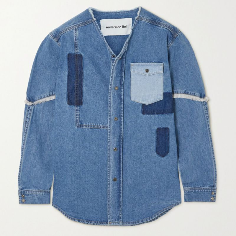 Nicola Frayed Patchwork Denim Shirt