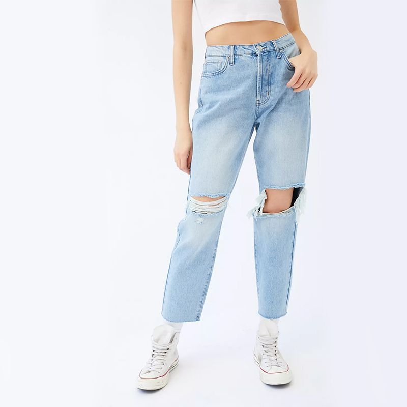 High-Waisted Slim Straight Jean–Ripped Light Wash