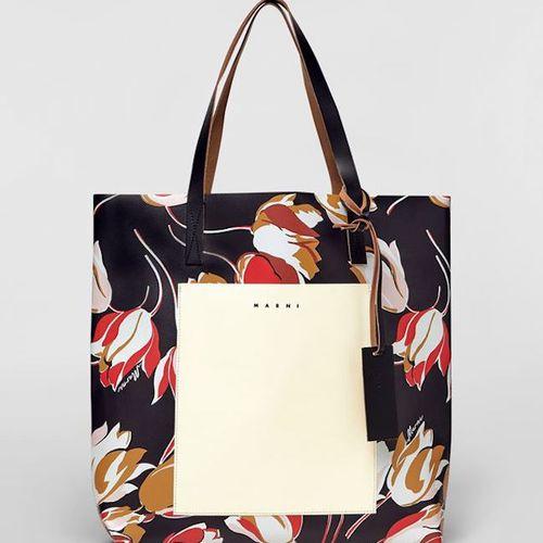 Marni Black Windblown Print PVC Shopping Bag