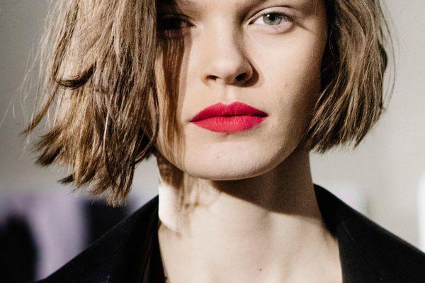 Short brown hair on a model backstage at Max Mara