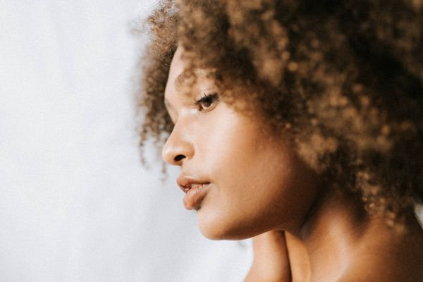 Woman with curly natural hair