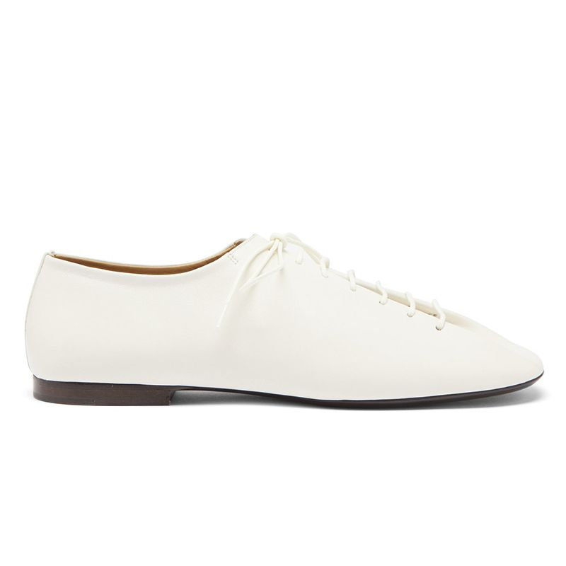 Square-Toe Leather Derby Shoes