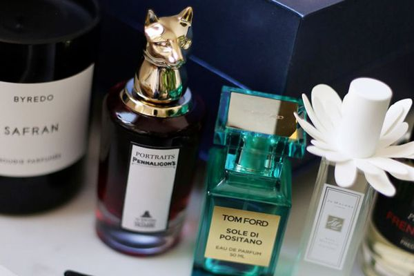 Dressing table covered in perfume