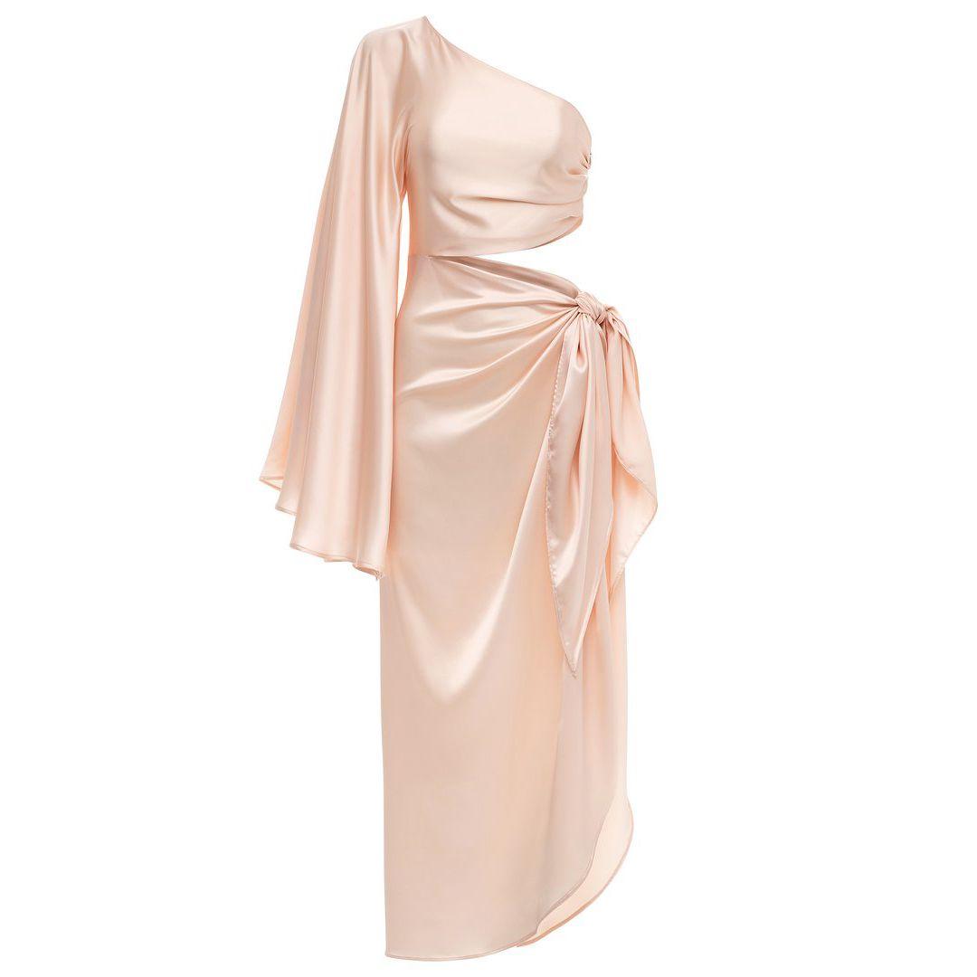 Fe Noel Champagne One Sleeve Tie Dress