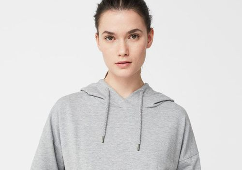model in gray sweatshirt