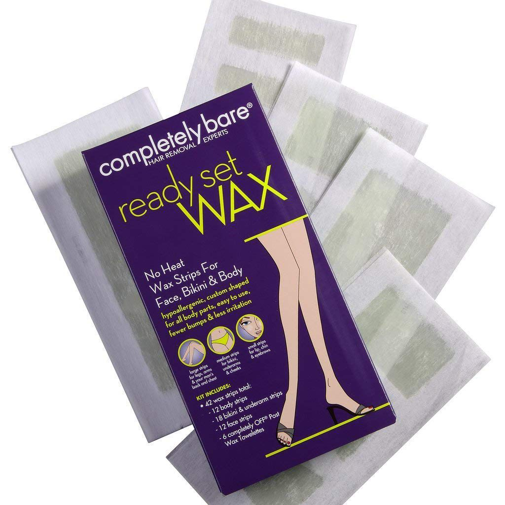 Completely Bare Ready, Set, Wax Hypoallergenic Wax Stirps for Face, Bikini, & Body