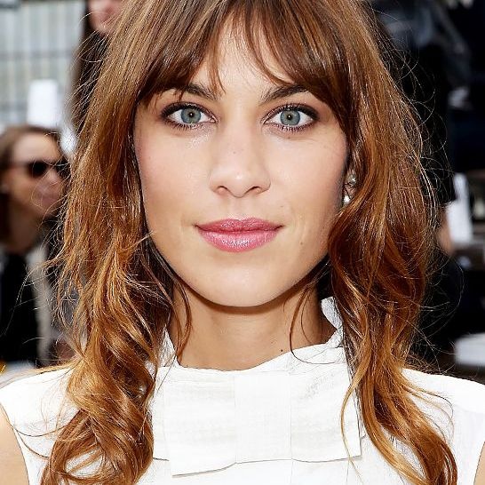 Alexa Chung with fringed cut on the red carpet.
