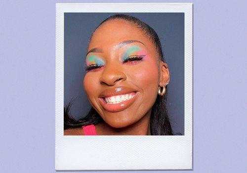 woman wearing rainbow unicorn eyeshadow