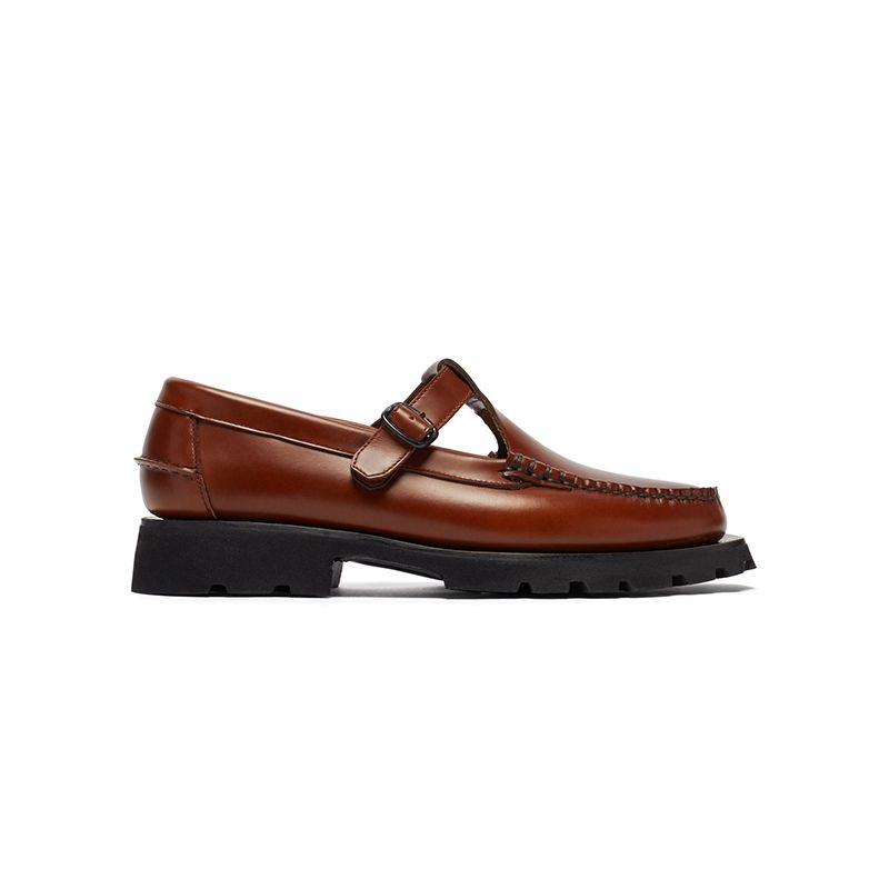 Albert Sport T-Bar Raised-Sole Leather Loafers