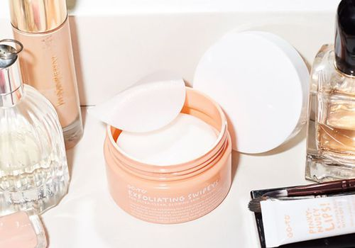 go to skincare exfoliating swipeys with other beauty products on vanity