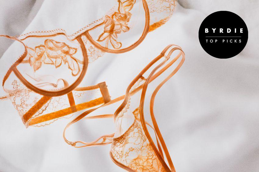 Photo composite of dark orange lace lingerie