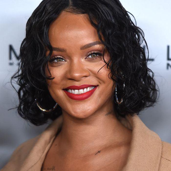 Rihanna chin-length curly bob