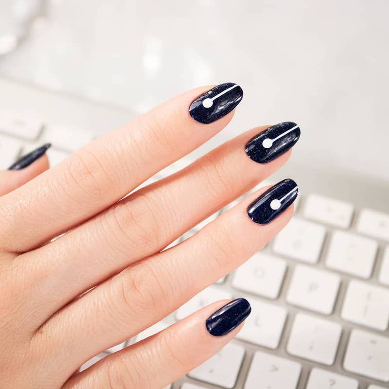 Simple Nail Designs White Accent Dot