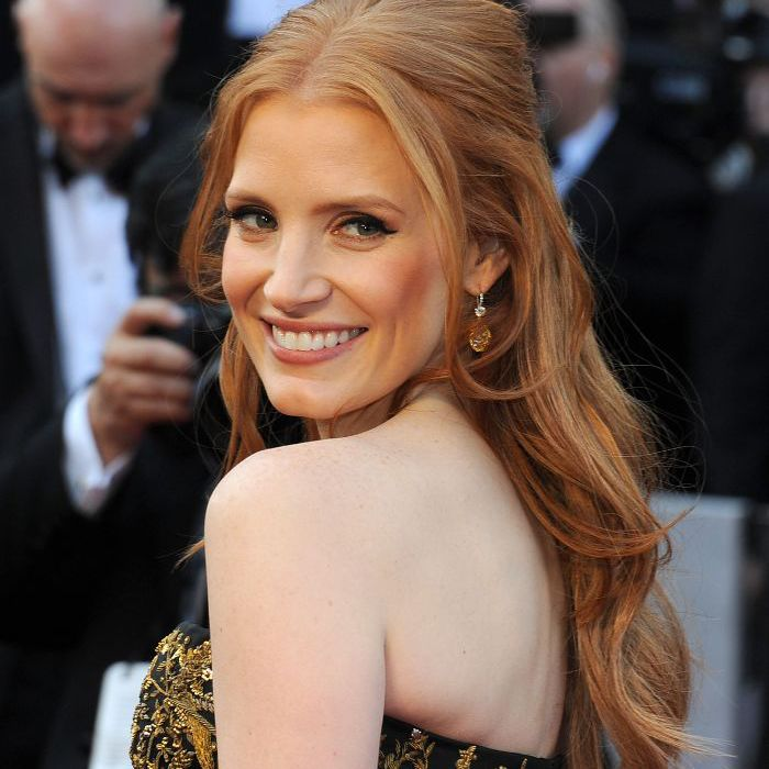 Jessica Chastain with classic tousled hair