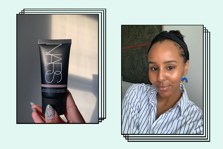 writer holding and wearing nars pure radiant tinted moisturizer