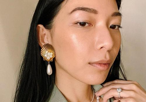 Stephanie Liu Hjelmeseth with glowing, radiant skin