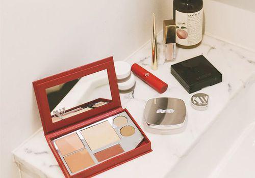 Transgender makeup tips: makeup on bathroom sink