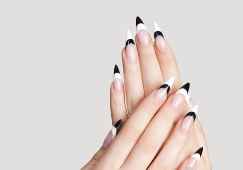 woman with black tip nail designs