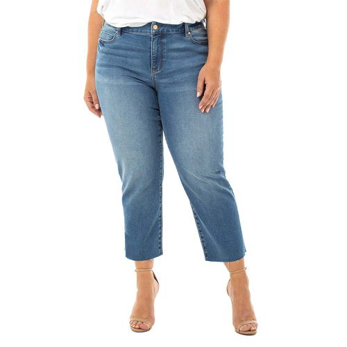 Crop Straight With Fray Hem Jeans ($98)