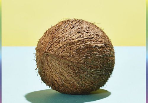 coconut on blue and yellow background