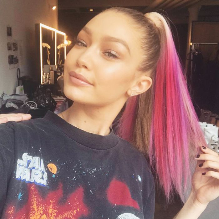 Ombre: Gigi Hadid with pink ombre hair