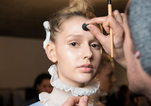 Model being prepared for London Fashion Week