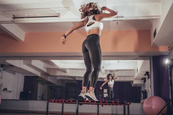 woman on trampoline