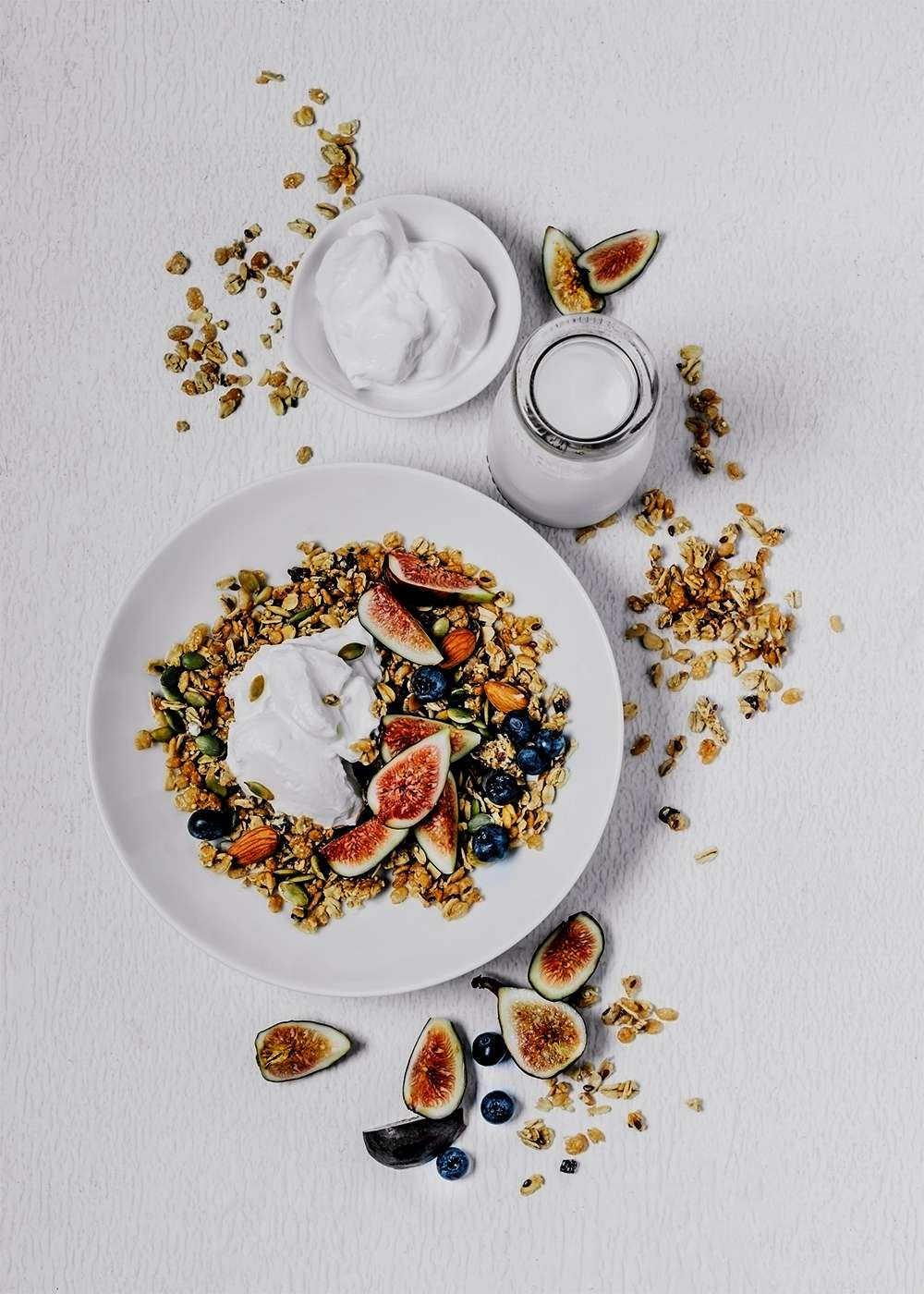 fig and blueberry granola with probiotic yogurt