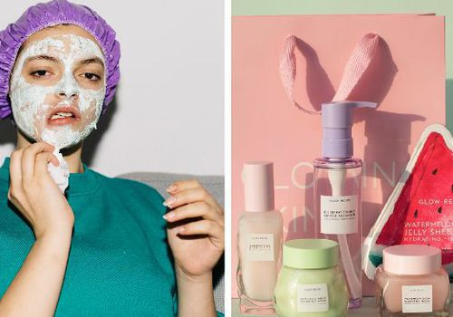 side by side shot of woman doing face mask and glow recipe products