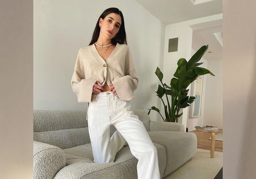 Woman wearing white jeans